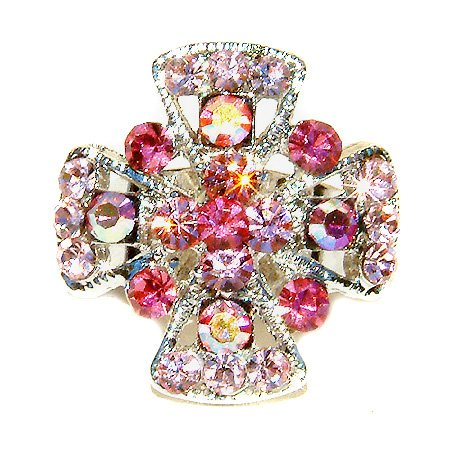 Pink Christian Jesus Cross Swarovski Crystal Ring