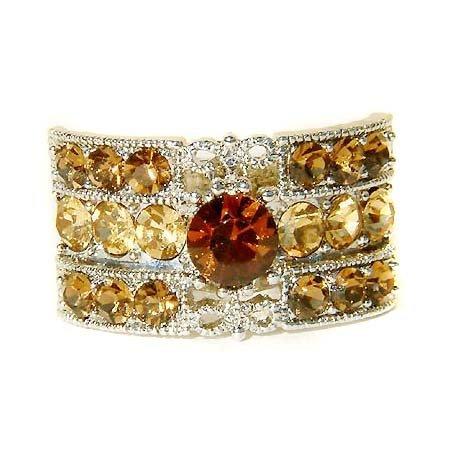 Topaz Gold Rectangle Swarovski Crystal Party Ring