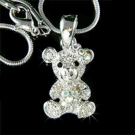 Petite Baby Bear Swarovski Crystal Necklace