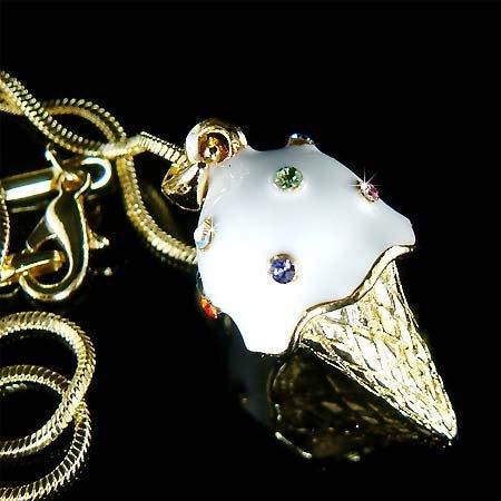Juicy Vanilla Ice Cream Cone Swarovski Crystal Necklace