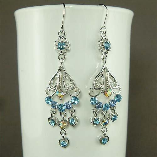 Something Blue Bridal Swarovski Crystal Chandelier Earrings