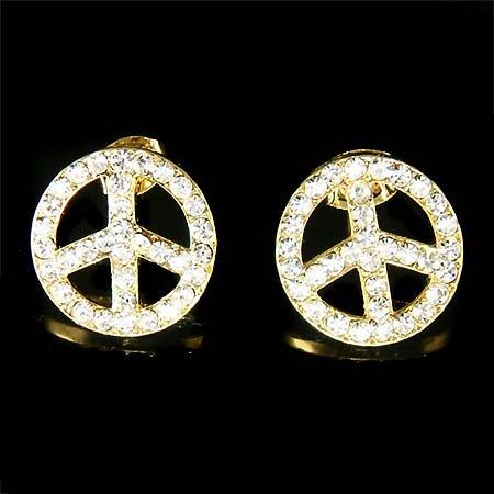 Awareness Juicy Gold Peace Sign Swarovski Crystal Stud Earrings