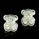 Teddy Bear Designer Swarovski Aurora Borealis Crystal Earrings