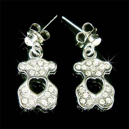 Clear Teddy Bear with Heart Swarovski Crystal Stud Earrings