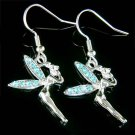 Blue Couture Swarovski Crystal Tinkerbell Fairy Earrings