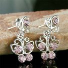 Purple Swarovski Crystal Bridal Wedding Butterfly Stud Earrings
