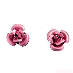 Pink Bridal Wedding Simple Rose Flower Stud Earrings