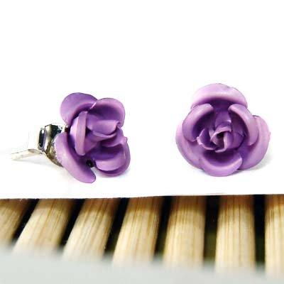 Purple Bridal Wedding Simple Rose Flower Stud Earrings