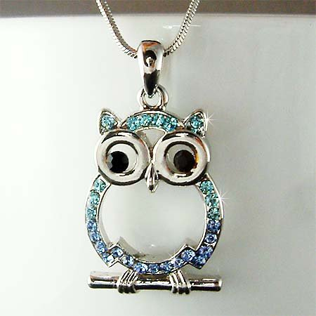 Blue Wisdom Owl Teacher on the branch Swarovski Crystal Necklace