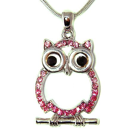Wisdom Wise Owl Teacher on the branch Swarovski Crystal Necklace