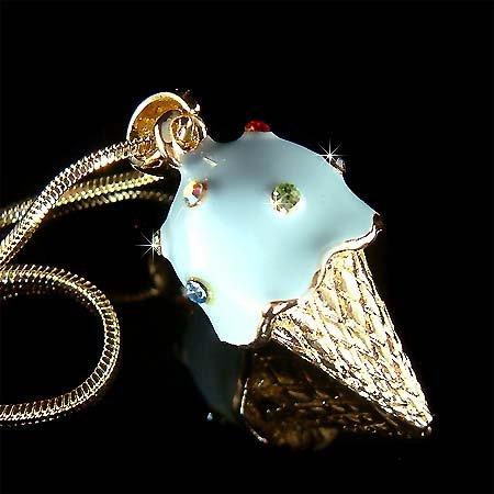 Juicy Blueberry Ice Cream Cone Swarovski Crystal Necklace