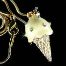 Juicy Pineapple Ice Cream Cone Swarovski Crystal Necklace