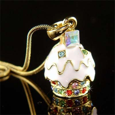 Swarovski Crystal Juicy Strawberry Cupcake Pendant Gold Necklace