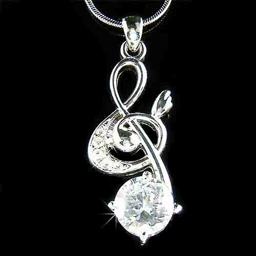 Treble G Clef Swarovski Crystal & Cubic Zirconia Necklace