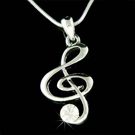 Clear Treble G Clef Swarovski Crystal Necklace