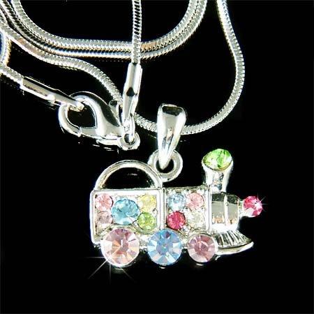 Swarovski Crystal Rainbow Toy Mexican Train Pendant Necklace