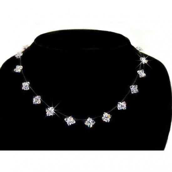 Floating Star Illusion Swarovski Crystal Bridal Silver Necklace
