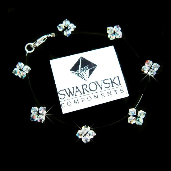 Floating Star Illusion Swarovski Crystal Bridal Silver Bracelet