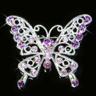 Purple Cutout Butterfly Swarovski Crystal Brooch