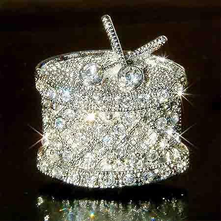 Swarovski Crystal Drum Brooch