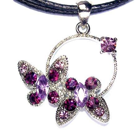 Purple Butterfly Friends Swarovski Crystal 2 Leather Necklace