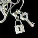 Juicy KEY TO MY HEART Swarovski Crystal Love LOCK Charm Necklace