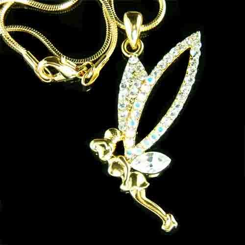 Gold Tinkerbell Fairy Pixie Swarovski Crystal Necklace
