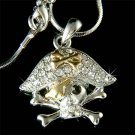 Pirate Skull with Crossbone Swarovski Crystal Necklace