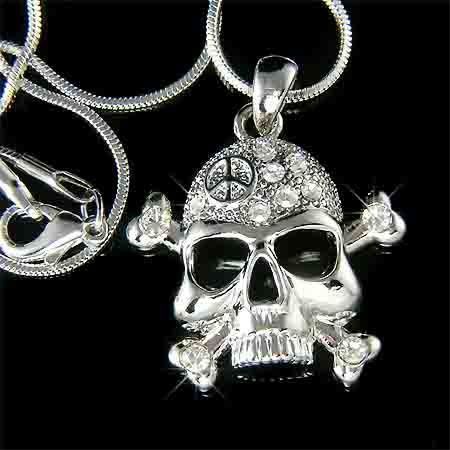 Swarovski Crystal Skull Crossbone Peace Sign Pendant Necklace