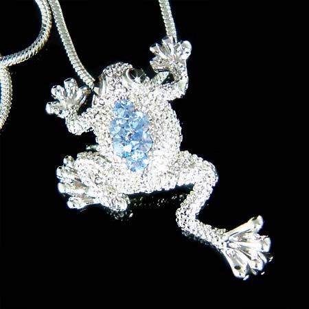 Light BlueSwarovski Crystal Wildlife Leap Frog Pendant Necklace