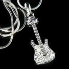 Clear Electric Guitar Swarovski Crystal Necklace