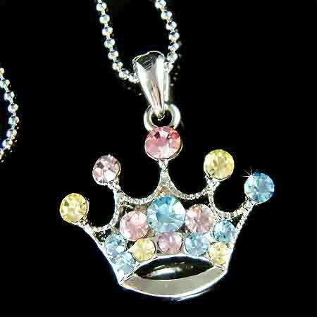 Swarovski Crystal Rainbow Royal Princess Crown Pendant Necklace