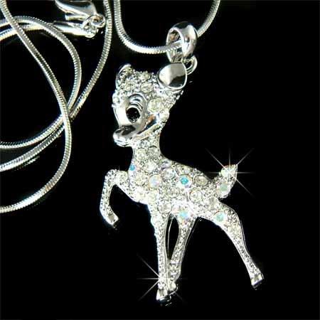 Couture Swarovski Crystal Bambi Deer Necklace