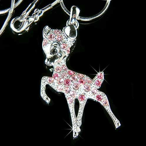 Pink Couture Swarovski Crystal Bambi Deer Necklace