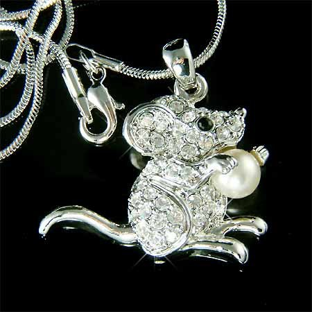 Squirrel Mouse with Pearl Swarovski Crystal Necklace