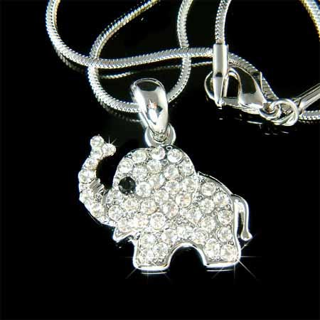 Swarovski Crystal Lucky Elephant Pendant Chain Necklace