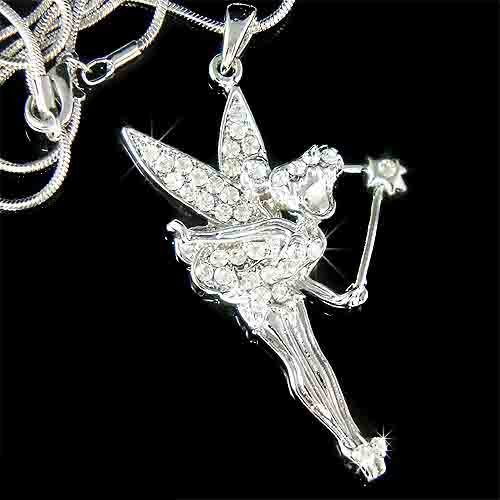 Fairy with Magic Wand Swarovski Crystal Necklace