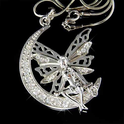 Angel on Crescent Moon Swarovski Crystal Necklace