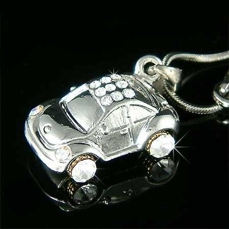 VW Volkswagen Beetle Car Swarovski Crystal Necklace