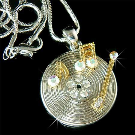 Vintage Record with Music Note Swarovski Crystal Necklace