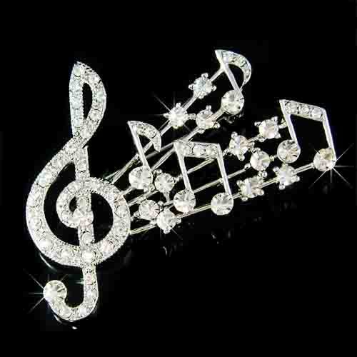 Big Treble G Clef & Music Note Swarovski Crystal Brooch