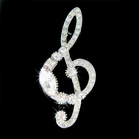 Huge Treble G Clef Swarovski Crystal Musical Brooch