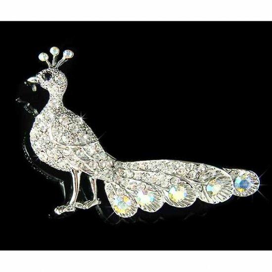 Peacock Peafowl Peahen Bird Swarovski Crystal Brooch