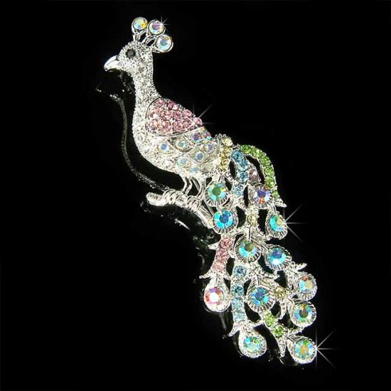 Huge Peacock Peafowl Peahen Bird Swarovski Crystal Brooch