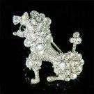 Clear White French Poodle Dog Swarovski Crystal Animal Brooch