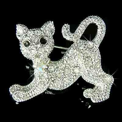 Playful Kitty Cat Kitten Swarovski Crystal Brooch