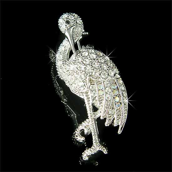 Tropical Flamingo Bird Wildlife Swarovski Crystal Brooch