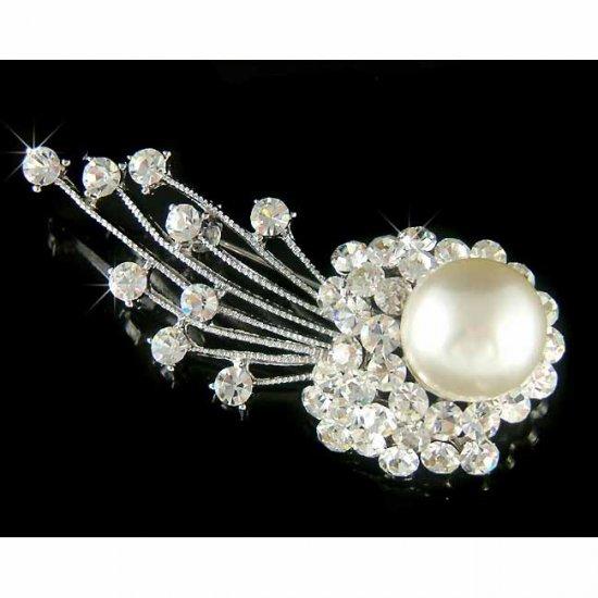 Swarovski Crystal Bridal Pearl Shooting Star Comet Brooch