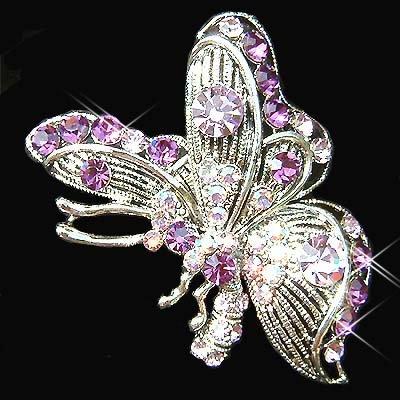 Purple Side View Swarovski Crystal Butterfly Brooch