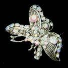 Clear Side View Swarovski Crystal Butterfly Brooch